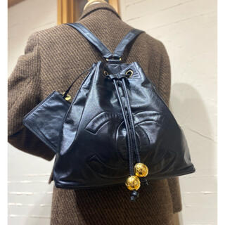 CHANEL - VINTAGE CHANEL デカココステッチ ラムスキン リュックサック