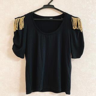 ワンスポ(one spo)のワンスポ フリンジ付Tシャツ 個性的 トップス ブラック×ゴールド 小顔効果◎(Tシャツ(半袖/袖なし))