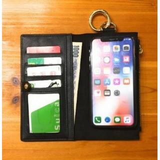 iPhoneXRレザーケース 手帳型 財布型 マグネット式 ファスナーバッグ(iPhoneケース)