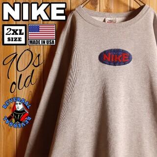 ナイキ(NIKE)の90s USA製 NIKE オールド ナイキ 刺繍 ワッペン スウェット XXL(スウェット)