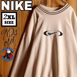 NIKE - 90s NIKE オールド ナイキ リブライン 刺繍 スウッシュ スウェット