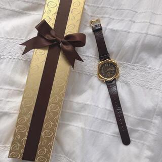 キューポット(Q-pot.)のQ-pot 腕時計 トケトケイ ブラウン(腕時計)