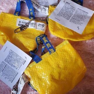 イケア(IKEA)の新品♥️スピード発送 IKEAのエコバッグミニ♪可愛い♪黄色 3個キーホルダー式(エコバッグ)