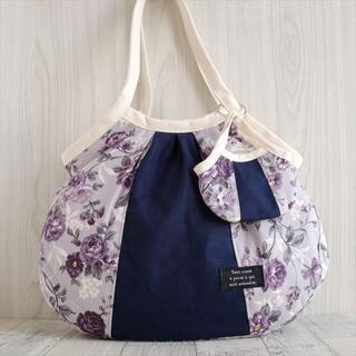 紺×花柄の切り替えグラニーバッグ  ミニバッグ付き(バッグ)