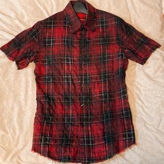 シェラック(SHELLAC)のシェラック 半袖 シャツ トップス チェック 赤 黒(シャツ)