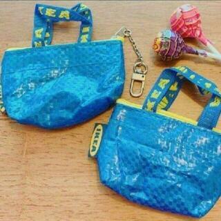 イケア(IKEA)の最安値♪ブルーバッグ新品♪IKEA クノーリグ可愛いミニバッグ2個キーホルダー付(エコバッグ)