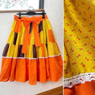 Lochie - ヴィンテージ スカート オレンジ 花柄