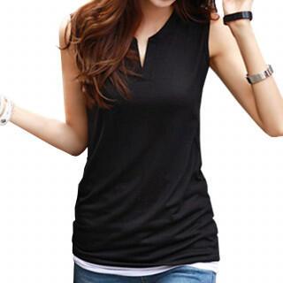 新品☆ ノースリーブ Vネック トップス Tシャツ カットソー カジュアル 黒(Tシャツ(半袖/袖なし))