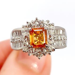 PT900 オレンジサファイア 0.94 ダイヤモンド 1.24 リング 指輪(リング(指輪))