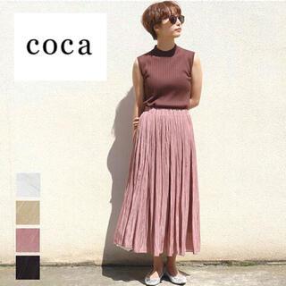 coca 光沢プリーツスカート くすみピンク サテンスカート SML