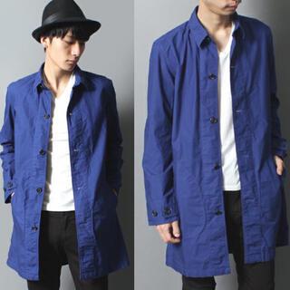 ステュディオス(STUDIOUS)のSTUDIOUS 製品染めコットンシャツコート ステンカラー S ブルー日本製 (ステンカラーコート)