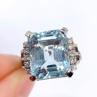 PT900 アクワマリン ダイヤモンド 0.20 リング ソーティング(リング(指輪))