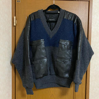 vintage leather switching knit