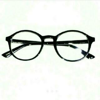 新品 送料込み 丸眼鏡 デザイン 伊達メガネ ブラック 黒縁  UVレンズ 付き(サングラス/メガネ)