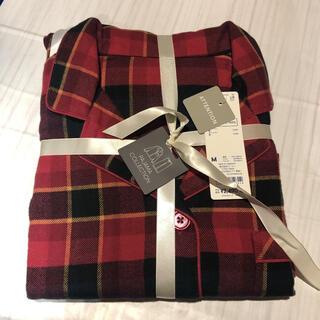 ジーユー(GU)のフランネルパジャマ 長袖 タータンチェック 赤 コットン100% M(パジャマ)