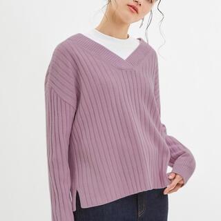 ジーユー(GU)のワイドリブVネックセーター(長袖)(ニット/セーター)