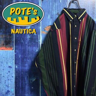 NAUTICA - 【ノーティカ】ポケット刺繍ロゴマルチストライプシャツ 90s