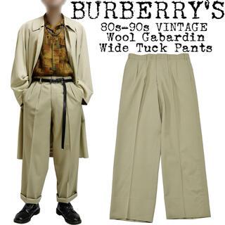 BURBERRY - ★美品★BURBERRY★バーバリー★80s〜★ウールギャバジン ワイドパンツ★