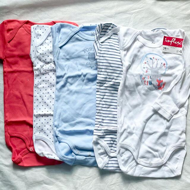 新品未使用 フランスで購入した長袖ボディ5枚組 80cm キッズ/ベビー/マタニティのベビー服(~85cm)(ロンパース)の商品写真