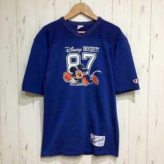チャンピオン(Champion)の美品 ビンテージ 80s チャンピオン×ミッキー フットボール Tシャツ(Tシャツ/カットソー(半袖/袖なし))