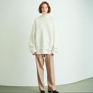 COMOLI - YOKE ニット 白 【CONNECTING HIGHT NECK KNIT】