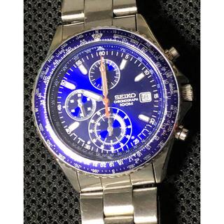 セイコー(SEIKO)のSEIKO PILOT クロノグラフ 7T92-0CF0 ブルー 完動美品(腕時計(アナログ))