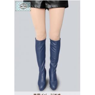 ロングブーツ ブーツカバー 紺 ネイビー コスプレ 靴 シューズ(靴/ブーツ)