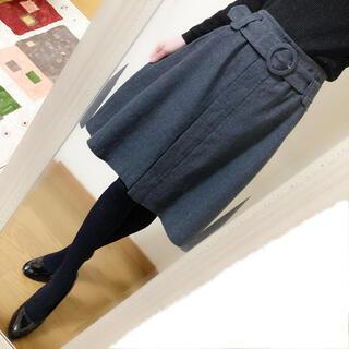 ROPE - ROPE ◆ ベルト付きウールスカート ◆日本製
