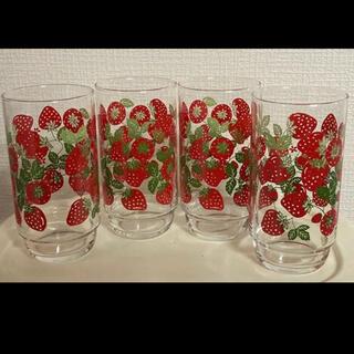 トウヨウササキガラス(東洋佐々木ガラス)の東洋ガラス いちご グラス コップ 昭和レトロ ポップ(グラス/カップ)