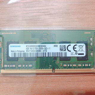 サムスン(SAMSUNG)のノートPC用メモリ(260pin)DDR4-2666 4GB(PCパーツ)