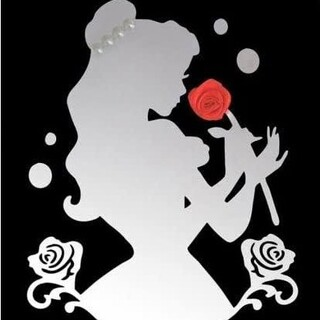 Disney - ディズニープリンセス ミラーステッカー 美女と野獣 鏡 インテリア