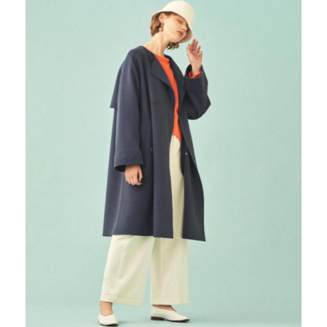 TOMORROWLAND(トゥモローランド)のGALERIE VIE ウールダブルフェイス ダブルブレストノーカラーコート レディースのジャケット/アウター(ロングコート)の商品写真