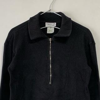 アニエスベー(agnes b.)の美品 90s agnes b. 長袖 ハーフジップ リブ カットソー  黒(スウェット)