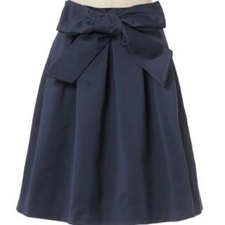新品angelus リボンフレアスカート サテン タック f.i.n.t(ひざ丈スカート)