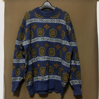 vintage 柄ニット 柄セーター 青 ブルー