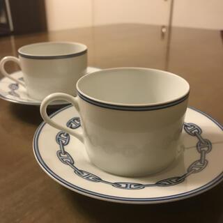 Hermes - エルメス  シェーヌ ダンクル ブルー  ティーカップ&ソーサー