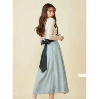 MIIA - 最終値下げ【新品未使用】MIIA バックリボンツィードスカート ブルー