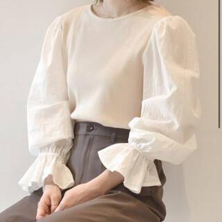 ダブルクローゼット(w closet)のダブルクローゼット 袖異素材テレコプルオーバー(カットソー(長袖/七分))