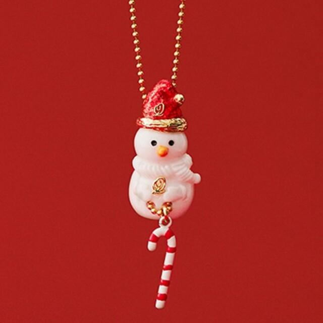 Q-pot.(キューポット)のパウダー シュガースノーマン ネックレス セット 雪だるま キューポット レディースのアクセサリー(ネックレス)の商品写真