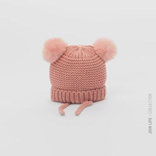 ザラキッズ(ZARA KIDS)の新品 ZARAkids ニット帽 ピンク(帽子)