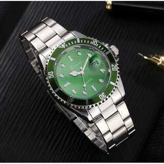 新品 送料込み メンズ ビジネス クォーツ 腕時計 シルバー×緑(腕時計(アナログ))