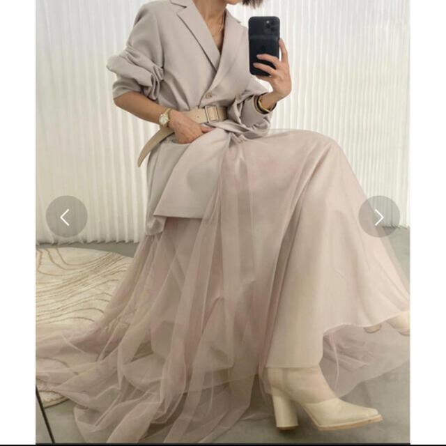 Ameri VINTAGE(アメリヴィンテージ)のアメリAMERI VINTAGE TRINITY JKT TULLE DRESS レディースのワンピース(ロングワンピース/マキシワンピース)の商品写真