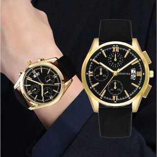 新品 送料込み デュアルタイプ 腕時計メンズ ラグジュアリー黒×ゴールド(腕時計(アナログ))