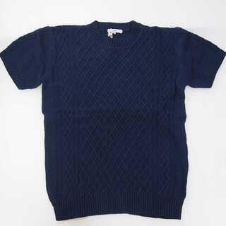 【新品】半袖 セーター ネイビー 丸首 M (T56)(ニット/セーター)