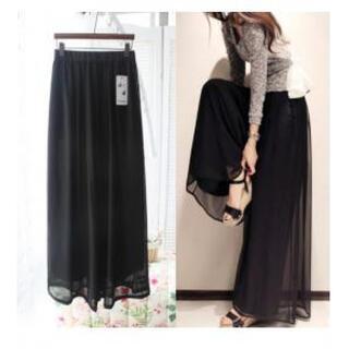 黒 大人 体型カバー スカーチョ シフォン ワイドパンツ ガウチョパンツ