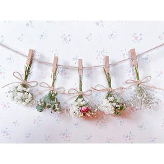淡い3種のバラとユーカリとかすみ草のホワイトドライフラワーガーランド♡スワッグ♡(ドライフラワー)