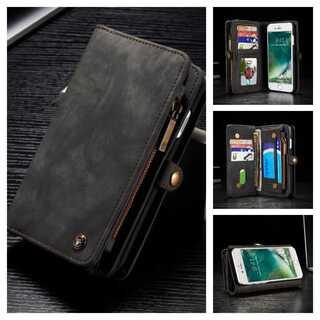 黒★iPhone 6sPlus/7/8/Plus スエード レザーケース 財布★