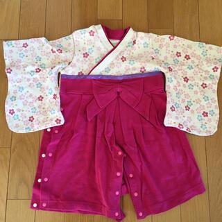 ベルメゾン(ベルメゾン)の袴 ロンパース  ひな祭り 女の子 80(和服/着物)