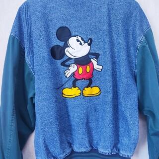 ディズニー(Disney)の90s レア ディズニー ミッキー 刺繍デニムスタジャン(スタジャン)