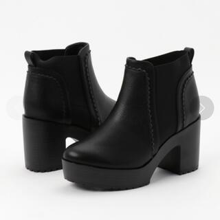 heather - サイドゴアブーツ ショートブーツ 黒 ブラック